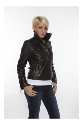 Ladies Leather Jackets In Brown:DP